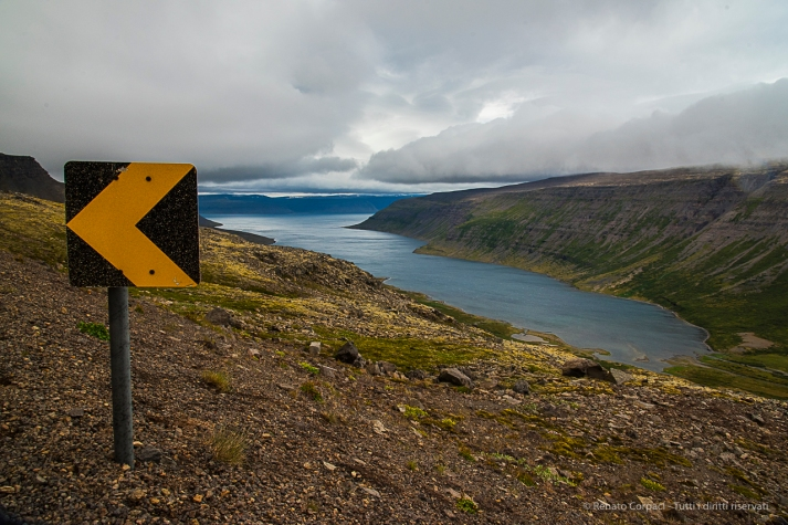 View from above Sudureyri Fiord. Nikon D810, 24 mm (24-120.0 mm ƒ/4) 1/250 sec ƒ/11 ISO 800