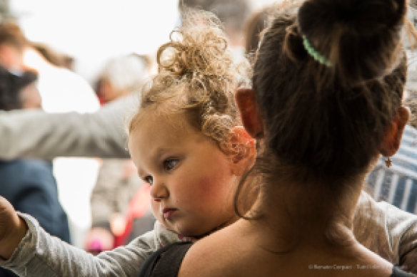 """""""Madonna and Child"""", waiting in line at the Mexican Restaurant. Nikon D810, 120mm (24-120 ƒ/4) 1/60 sec ƒ/5.6 ISO 400"""