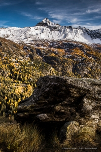 Pizzo Scalino from the trail over the Campo Moro Reservoire. Nikon D810, 24mm (24 mm ƒ/1.4) 1/100 sec ƒ/5 ISO 64