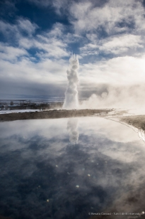 """Strokkur spouts can be spotted from a distance. Nikon D810, 24 mm (24.0 mm ƒ/1.4) 1/1000"""" ƒ/5 ISO 64"""