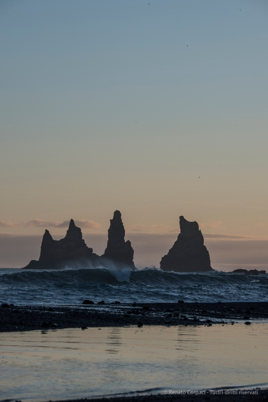 "The Troll Rocks at the tip of Reynisfjara, facing Vik. Nikon D750, 155 mm (80-400.0 mm ƒ/4.5-5.6) 1/160"" ƒ/11 ISO 100"
