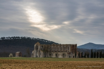 "San Galgano Abbey, north-western view. Nikon D810, 85 mm (85.0 mm ƒ/1.4) 1/40"" ƒ/8 ISO 64"