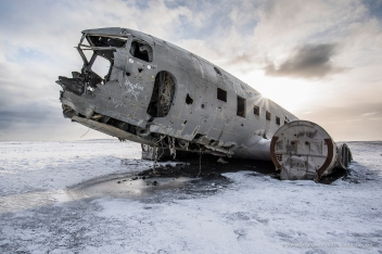 "United States Navy Douglas Super DC-3 airplane, forced to an emergency landing on Sólheimasandur's beach. Nikon D810, 20 mm (20.0 ƒ/1.8) 1/125"" ƒ/7.1 ISO 64"