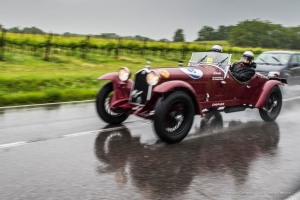 "Giordano Mozzi e Stefania Biacca (I) on a 1933 ALFA ROMEO 6C Gran Sport 1500 ""TESTA FISSA"". Nikon D810, 24 mm (24.0mm ƒ/1.4) ) 1/125"
