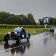 """Juan Tonconogy and Barbara Ruffini (RA) on a 1927 BUGATTI T40. Following are Bruno Ferrari and Ezio Sala on a 1927 BUGATTI T37. Nikon D810, 24 mm (24.0mm ƒ/1.4) ) 1/125"""" ƒ/3.5 ISO 64"""