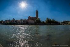 "Sant'Anastasia Belfry from across the river Adige. Nikon D810, 16 mm (16.0 mm ƒ/2.8) 1/200"" ƒ/16 ISO 100"