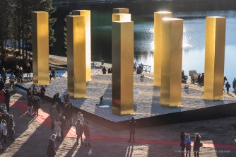 "Following the unveiling of ""The Sky Over Nine Columns"". Sankt Moritz, December 10th 2016. Nikon D810, 85 mm (85.0 mm ƒ/1.4) 1/100"" ƒ/4.5 ISO 31"