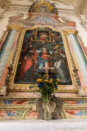 "Our Lady of Good Advice triuphant with Saints Andrew, Euphemia and Gottado. Somasassa, Valtellina, church of San Gottardo, XVIII Century. Nikon D810, 20 mm (20 mm ƒ/1.8) 2.5"" ƒ/16 ISO 64"